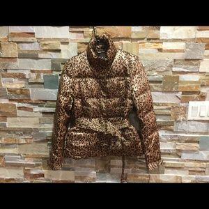 ZARA Leopard print puffy jacket